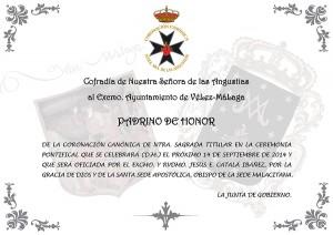 Pergamino Padrino Coronación - Ayuntamiento Vélez-Málaga